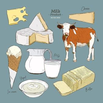 Milchprodukte-sammlung. kuh, milchprodukte, käse, butter, sauerrahm, quark, joghurt