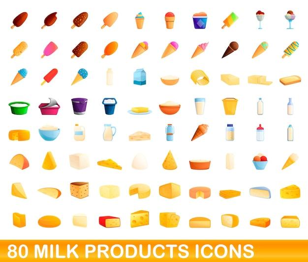 Milchprodukte symbole gesetzt. karikaturillustration von milchproduktikonen stellte auf weißen hintergrund ein