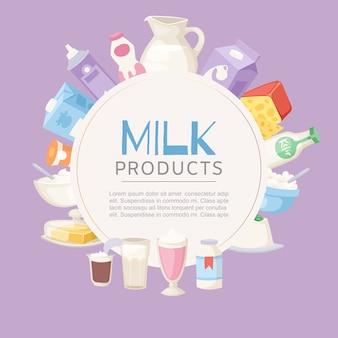 Milchproduktplakat mit verschiedenen arten des käses, der sauerrahm, des joghurts und der butter in der kreisrahmenschablone