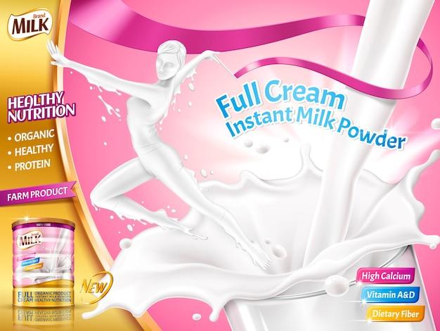 Milchpulver für frauenwerbung, elegante frau, die gymnastik tut, springen aus spritzmilch in der illustration, rosa hintergrund heraus