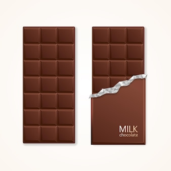 Milchschokolade-paket-bar leer. vektor-illustration