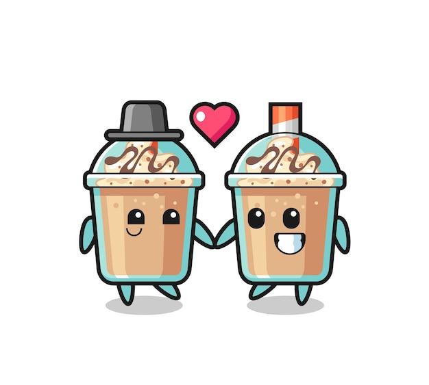 Milchshake-cartoon-charakterpaar mit verliebtheitsgeste, süßem stildesign für t-shirt, aufkleber, logo-element