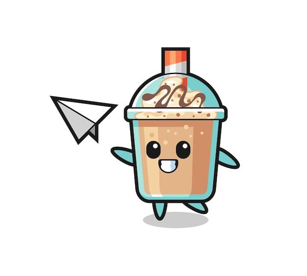 Milchshake-cartoon-figur, die papierflugzeug wirft, niedliches design für t-shirt, aufkleber, logo-element