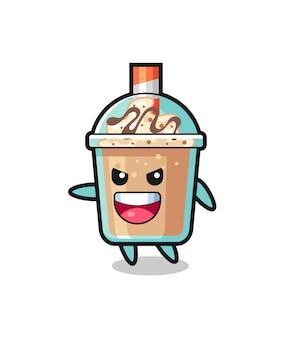 Milchshake-cartoon mit sehr aufgeregter pose, süßem design für t-shirt, aufkleber, logo-element