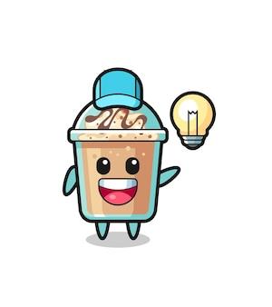 Milchshake-charakter-cartoon, der die idee bekommt, niedliches design für t-shirt, aufkleber, logo-element