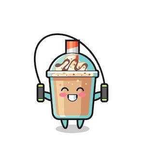 Milchshake-charakter-cartoon mit springseil