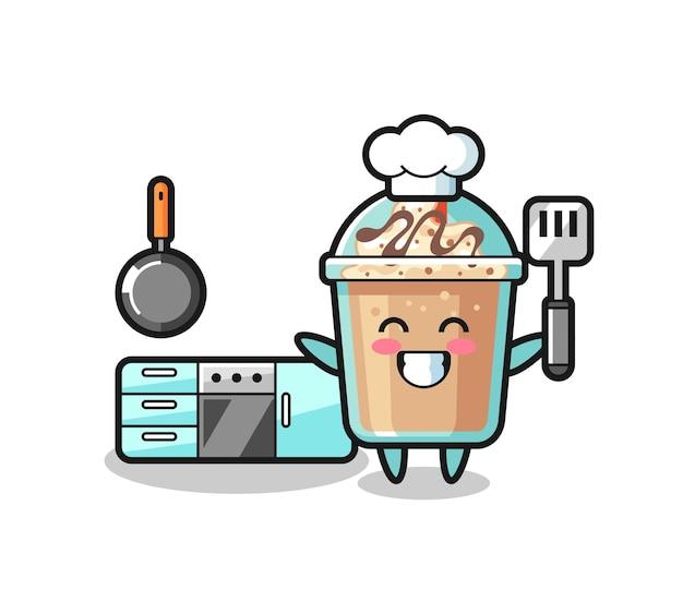 Milchshake-charakterillustration, während ein koch kocht