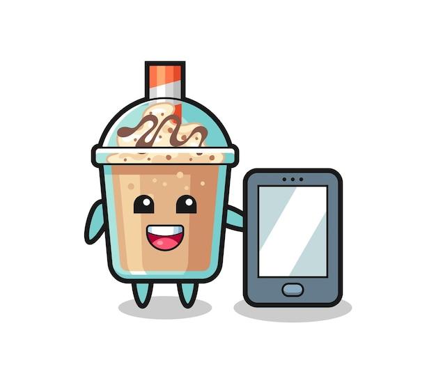 Milchshake-illustrationskarikatur, die ein smartphone hält, niedliches design für t-shirt, aufkleber, logo-element