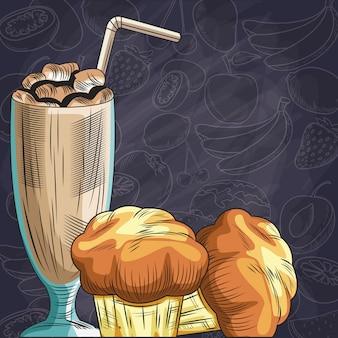 Milchshake und muffins dessert