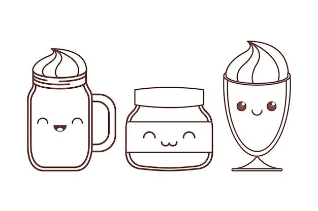 Milchshakes und glas kawaii symbolbild schwarze linie