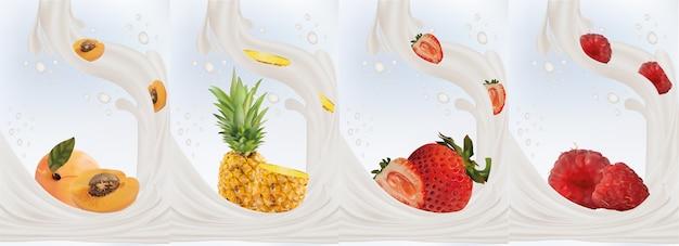 Milchspritzer auf süße früchte. realistische ananas, erdbeere, himbeere, aprikose. leckerer fruchtjoghurt.