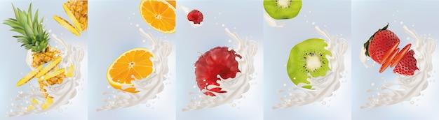 Milchspritzer auf süße früchte. realistische ananas, erdbeere, himbeere, orangen-kiwi. leckerer fruchtjoghurt.