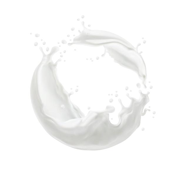 Milchtwister oder wirbelspritzer mit spritzern und weißen milchigen tropfen fließen, realistischer vektor. milchspritzer oder sahnegetränk, das welle des flüssigen joghurtwirbels für milchprodukte gießt