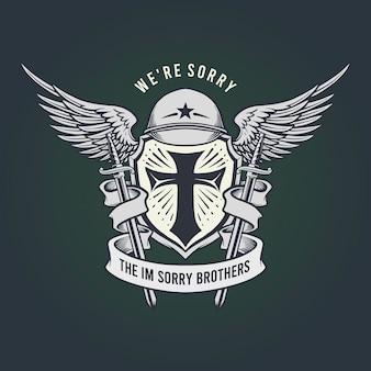 Militär entschuldigte bruder maskottchen classic emblem illustrationen.