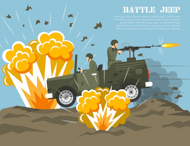 Militärarmee schlacht umwelt flache poster