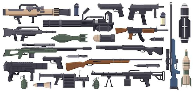 Militärarmee waffen raketengranatenwerfer maschinengewehr und bazooka isolierter vektorsatz