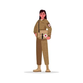 Militärarzt semi rgb farbabbildung. armeearzt. militärchirurg. junge hispanische frau, die als kampfmediziner-karikaturfigur auf weißem hintergrund arbeitet