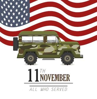 Militärauto und flagge der vereinigten staaten