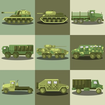 Militärautos und armeemaschinentransporter