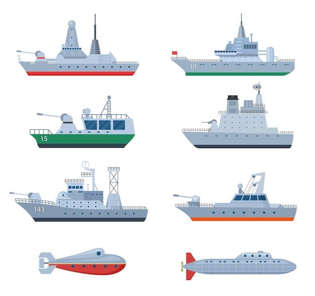 Militärboote. kämpfendes kriegsschiff, sicherheitsfregatte. isolierte kampfsymbole der marineverteidigung. streitkräfte und kriegsmarine, flaches schlachtschiff-set. illustration von militärwaffen, kriegsschiffen und kampfschiffen