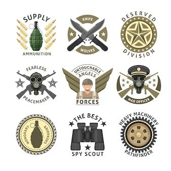 Militäreinheiten embleme mit gekreuzten waffe munition atemschutzmaske raupenrad flügel sterne isoliert vektor-illustration
