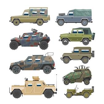 Militärfahrzeugarmeewagen und gepanzerter lkw oder bewaffnete maschinenillustrationssatz des kriegstransports lokalisiert auf weißem hintergrund