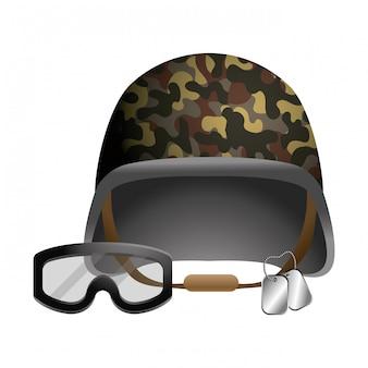 Militärhelm und schutzbrillen- und erkennungsmarkenschilder