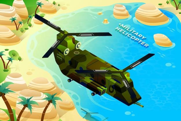 Militärhubschrauber - isometrische illustration