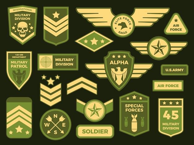 Militärische abzeichen. amerikanische armee abzeichen patch oder luftgeschwader chevron. abzeichen isoliert sammlung