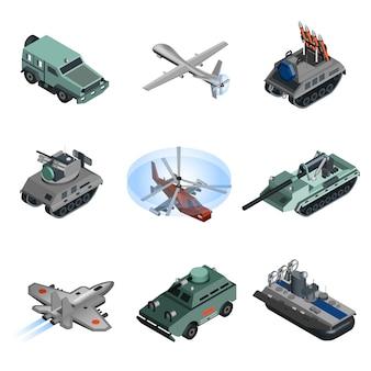 Militärische ausrüstung isometrisch