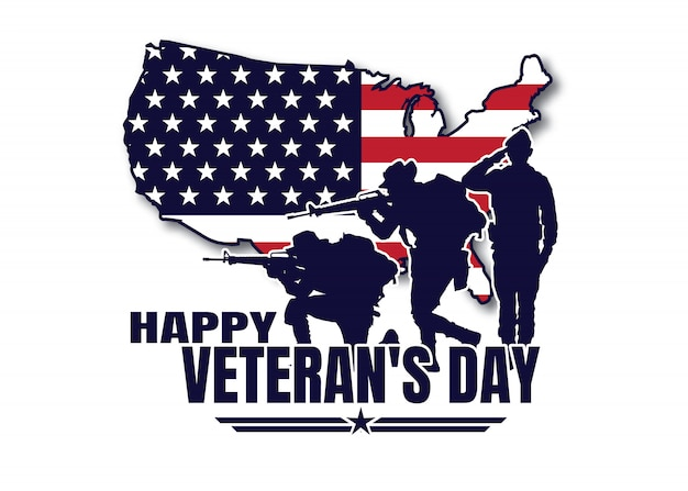 Militärische illustration, armeehintergrund, soldatenschattenbilder, glücklicher veteranentag.