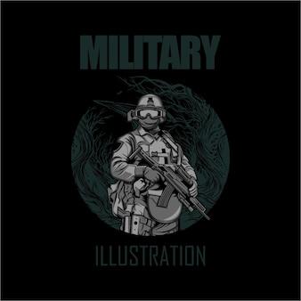 Militärische illustration mit einem schwarzen hintergrund