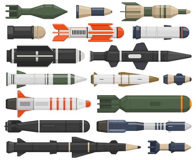 Militärische raketenwaffe ballistische waffen nukleare luftbomben marschflugkörper wasserbomben vektor