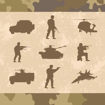 Militärische waffen neun silhouetten