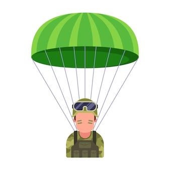Militärischer fallschirmspringer steigt vom himmel auf dem schlachtfeld herab.