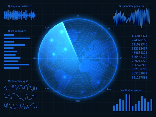 Militärisches blaues radar. hud-schnittstelle mit sonar, karten und steuerelementen. virtuelle anzeige vektorbildschirm