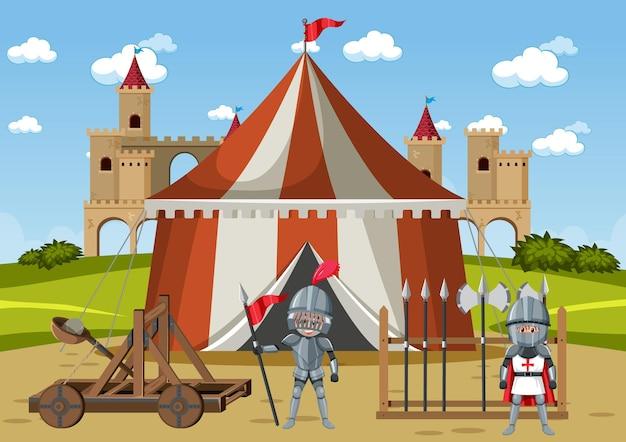 Militärisches mittelalterliches lager mit zelten und waffen
