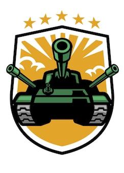 Militärisches panzermaskottchen im schildformat