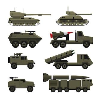 Militärisches schweres fahrzeug und spezialtransport für die kriegsisolierte objektillustration