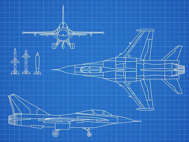 Militärjet-flugzeugzeichnungsvektor-blaupause