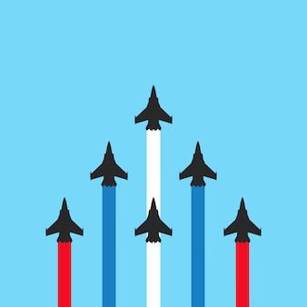 Militärjets mit farbigen spuren