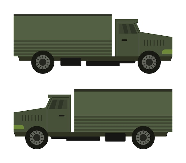 Militärlastwagen auf weiß