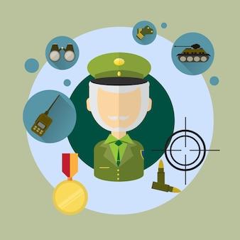 Militärmann-kommandant icon flat vector illustration