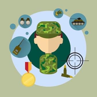 Militärmann-soldat icon flat vector illustration