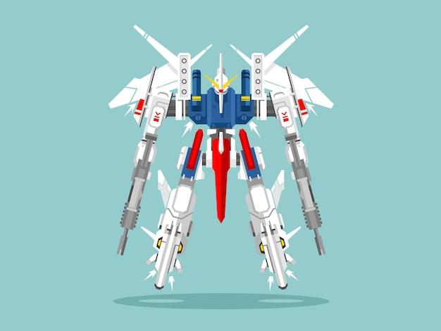 Militärroboter transformator. metallischer isolierter roboter, spielzeug, kriegerphantasie-cyborg, futuristische technologie, mechanismus maschinengewehr, illustration
