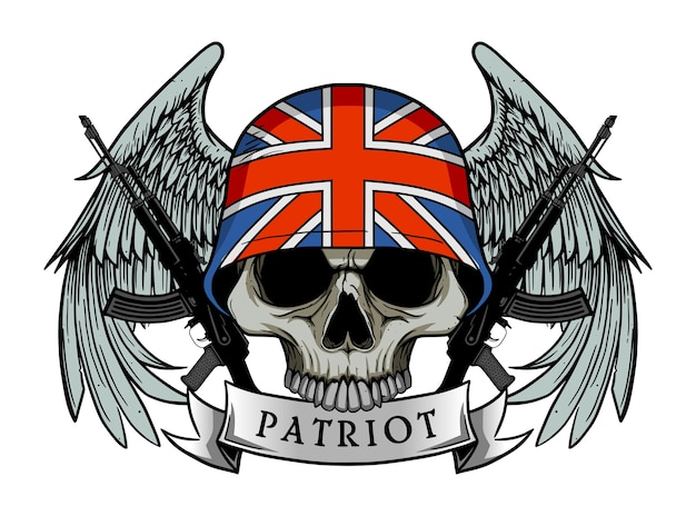Militärschädel oder patriotschädel mit britischer flagge helm