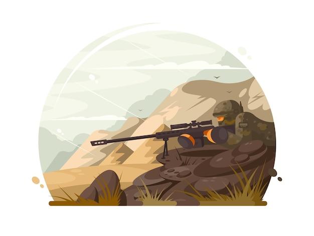 Militärscharfschütze lauert mit optischem visier des gewehrs