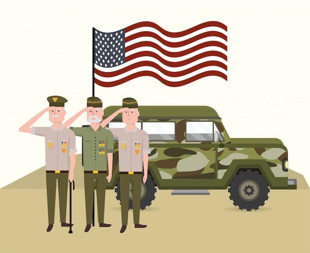 Militärsoldaten mit usa-flagge und auto