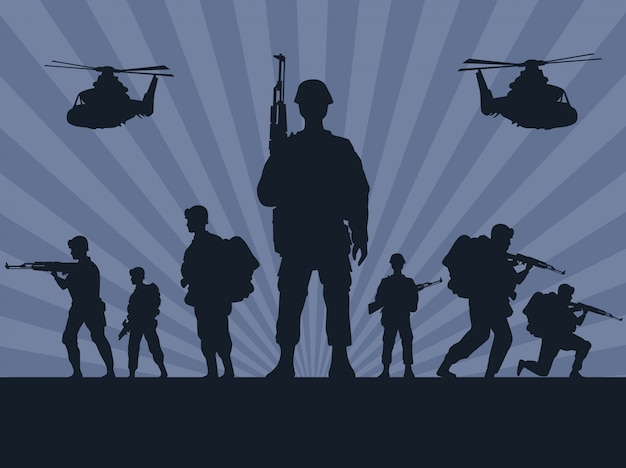 Militärsoldaten mit waffen und hubschraubersilhouetten