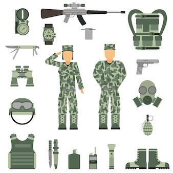 Militärsymbole entwerfen mit waffe und uniform. vektor.